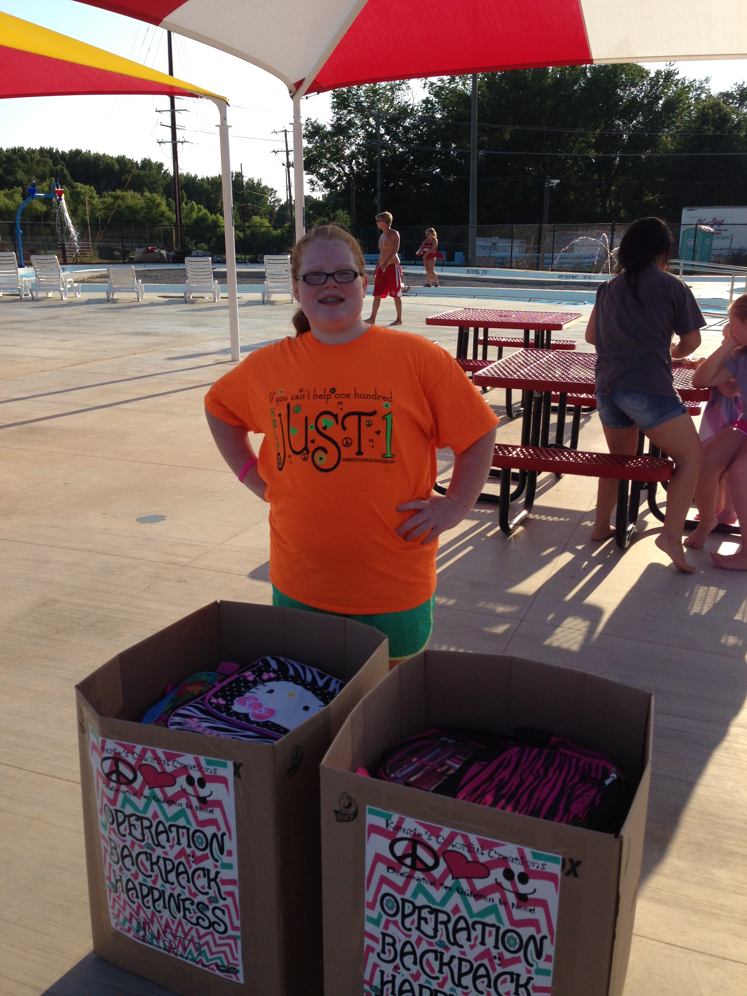 We took the backpacks to a waterpark day that our church provided for The CALL. She was able to donate over 60 backpacks to foster kids this evening!