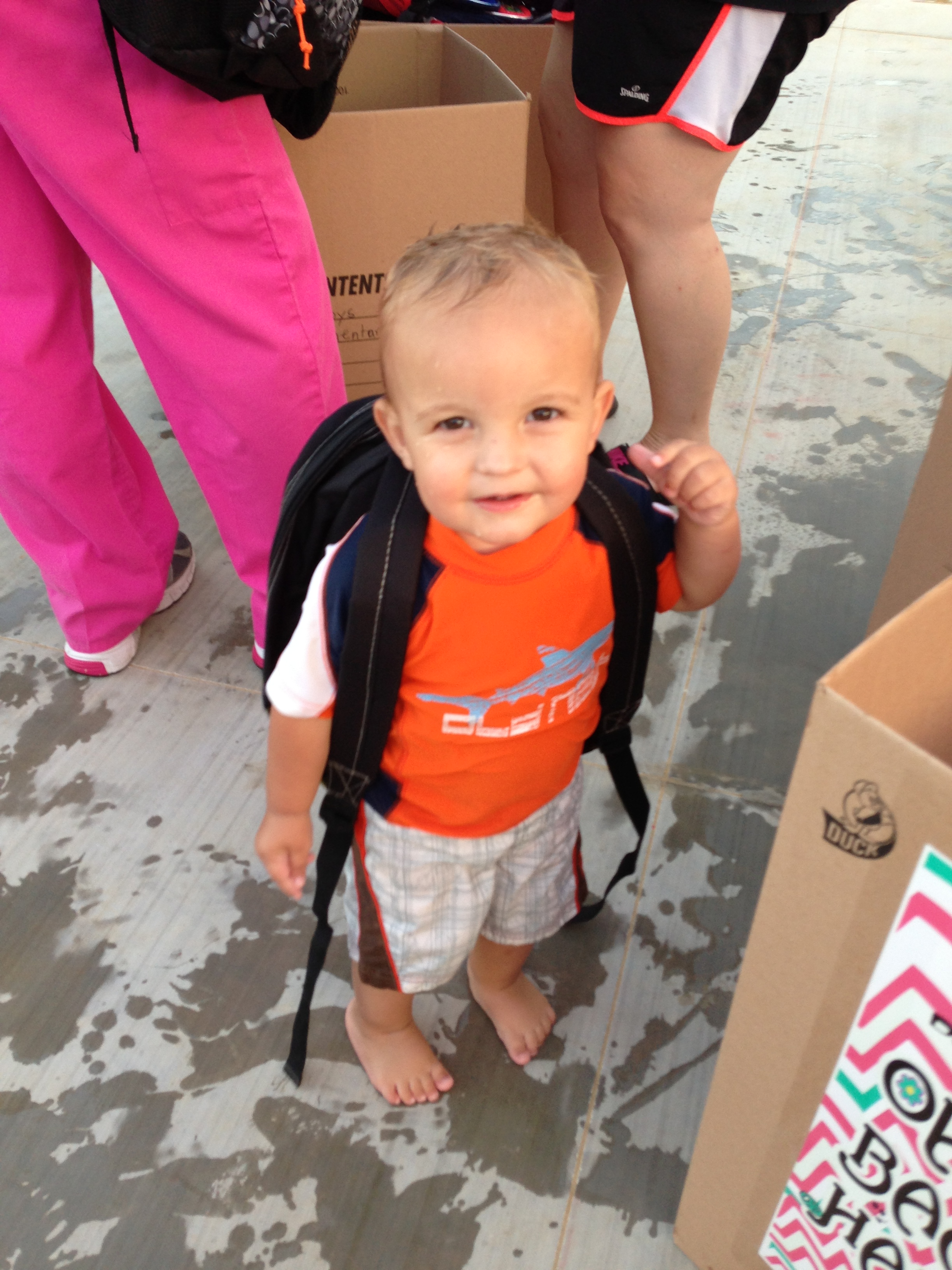 This little guy is wearing one of Kamrie's backpacks... so cute!