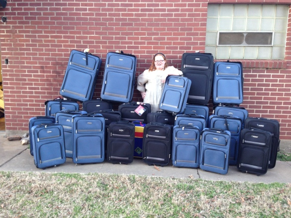 Kamrie raised money tye-dyeing shirts to buy 25 suitcases on wheels to donate to The Call for foster kids in Pope County, AR.