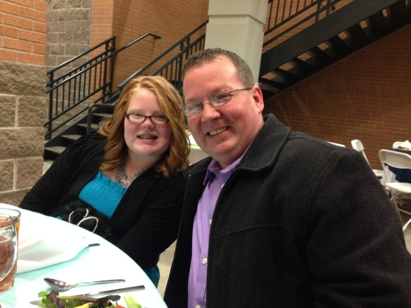 Kamrie and her daddy at the banquet.